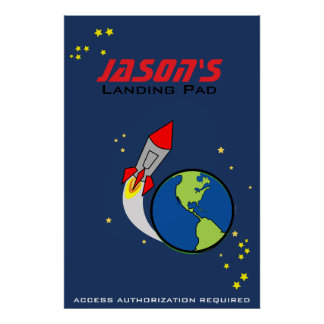 space rocket PERSONALIZED POSTER for kids