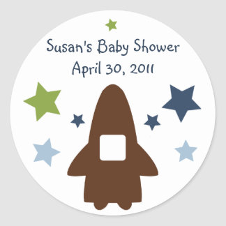 Space Rocket & Star Stickers/Labels/Envelope Seals Round Sticker