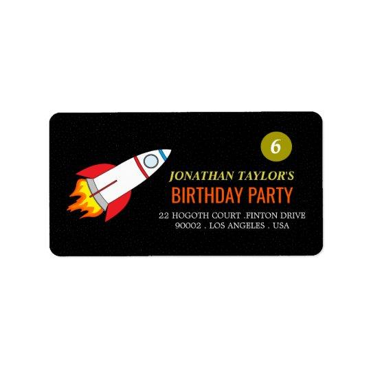 Space Rocket to the Moon Children's Birthday Address Label