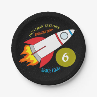 Space Rocket to the Moon Children's Birthday Paper Plate