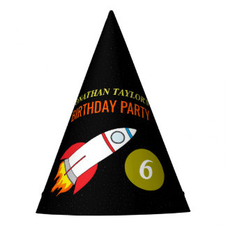 Space Rocket to the Moon Children's Birthday Party Hat