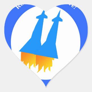 Space Rockets Heart Sticker