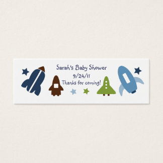 Space Rockets & Stars Favor/Tags Mini Business Card