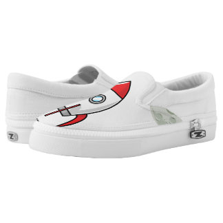 Space ship and Planet Slip On Shoes
