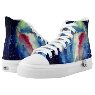 Space  Shoes  Watercolor Satrs Art