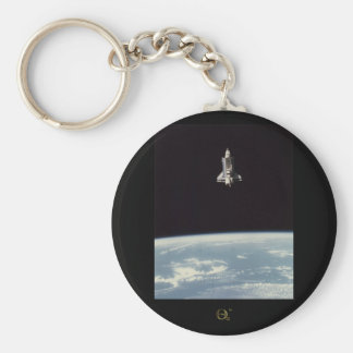 Space Shuttle Above Earth Basic Round Button Key Ring