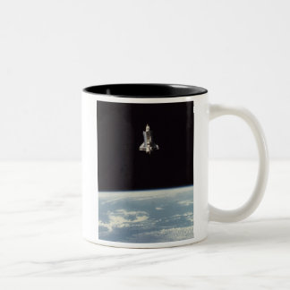 Space Shuttle Above Earth Two-Tone Coffee Mug
