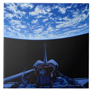 Space Shuttle and Earth Large Square Tile