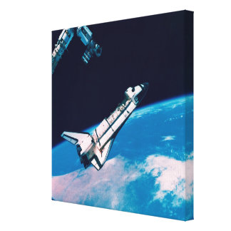 Space Shuttle and Station in Orbit Canvas Prints
