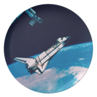 Space Shuttle and Station in Orbit Plate