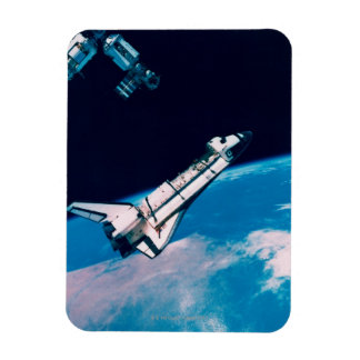 Space Shuttle and Station in Orbit Rectangular Photo Magnet