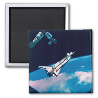 Space Shuttle and Station in Orbit Square Magnet