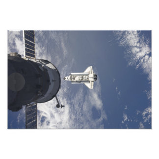 Space Shuttle Atlantis and a Russian spacecraft Photo Print