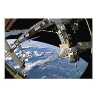 Space Shuttle Atlantis and a Soyuz spacecraft Art Photo