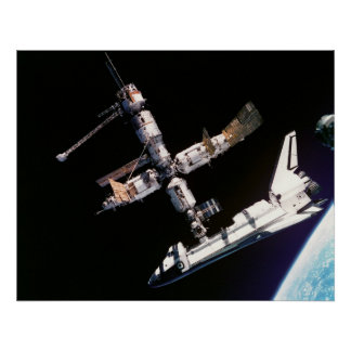 Space Shuttle Atlantis and ISS Poster