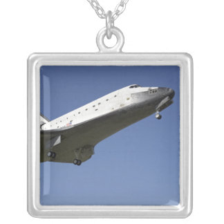 Space shuttle Atlantis approaching Runway 33 2 Square Pendant Necklace