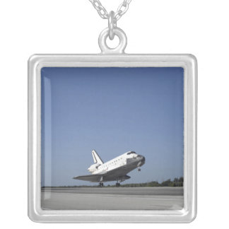 Space shuttle Atlantis approaching Runway 33 Silver Plated Necklace