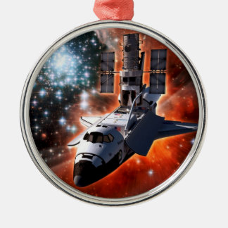 Space Shuttle Atlantis Hubble Telescope Artwork Christmas Ornament