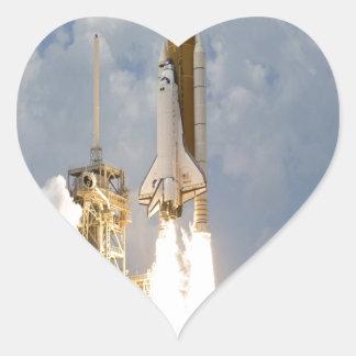Space Shuttle Atlantis lift off move to success Heart Sticker