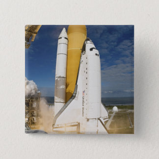 Space Shuttle Atlantis lifts off 12 15 Cm Square Badge