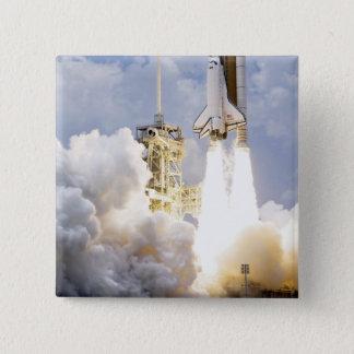 Space Shuttle Atlantis lifts off 15 Cm Square Badge