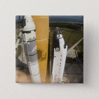 Space Shuttle Atlantis lifts off 17 15 Cm Square Badge