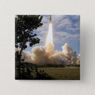 Space Shuttle Atlantis lifts off 19 15 Cm Square Badge