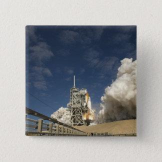 Space Shuttle Atlantis lifts off 20 15 Cm Square Badge