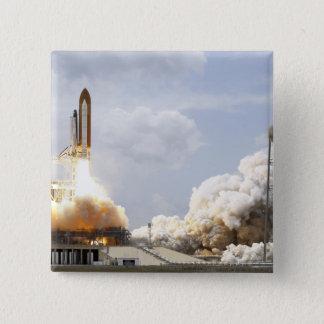 Space Shuttle Atlantis lifts off 21 15 Cm Square Badge