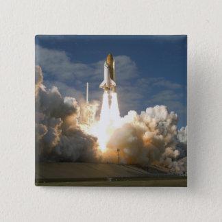 Space Shuttle Atlantis lifts off 24 15 Cm Square Badge