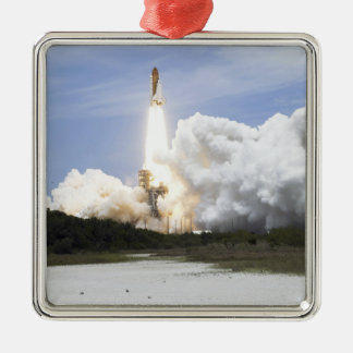 Space Shuttle Atlantis lifts off 28 Silver-Colored Square Decoration