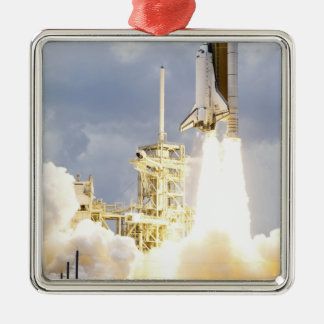 Space Shuttle Atlantis lifts off 2 Silver-Colored Square Decoration