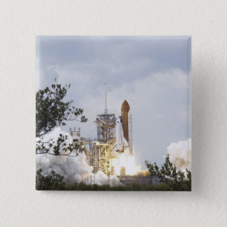 Space Shuttle Atlantis lifts off 3 15 Cm Square Badge
