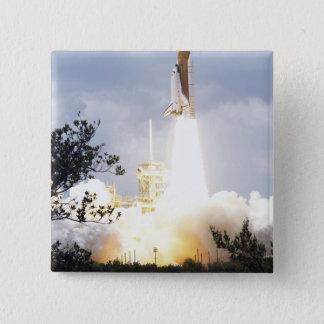 Space Shuttle Atlantis lifts off 4 15 Cm Square Badge