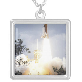 Space Shuttle Atlantis lifts off 4 Silver Plated Necklace