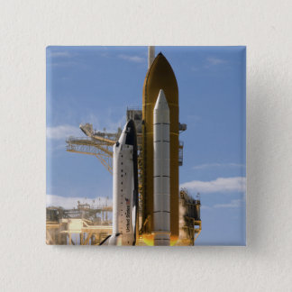Space Shuttle Atlantis lifts off 5 15 Cm Square Badge