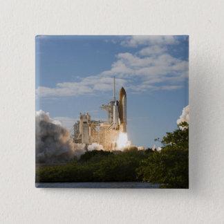 Space Shuttle Atlantis lifts off 7 15 Cm Square Badge