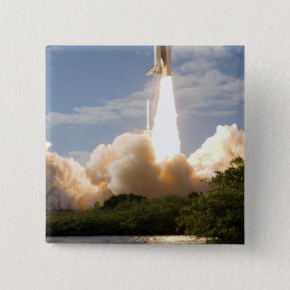 Space Shuttle Atlantis lifts off 8 15 Cm Square Badge