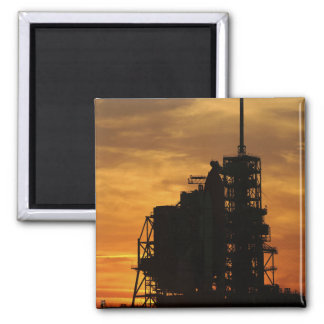 Space Shuttle Atlantis on the launch pad Square Magnet