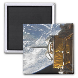 Space Shuttle Atlantis' payload bay backdropped Square Magnet