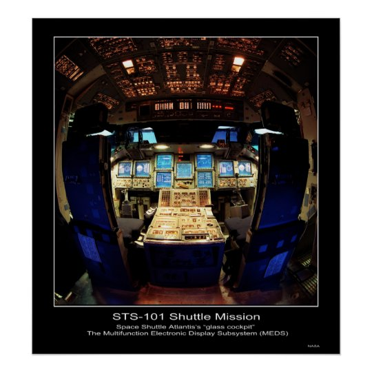 "Space Shuttle Atlantis's ""glass cockpit"" Poster"