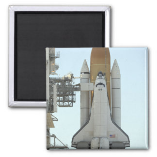 Space shuttle Atlantis sits on the launch pad Square Magnet