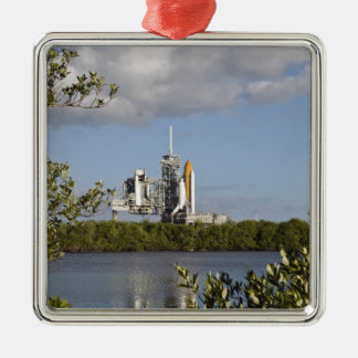 Space Shuttle Atlantis sits ready Silver-Colored Square Decoration