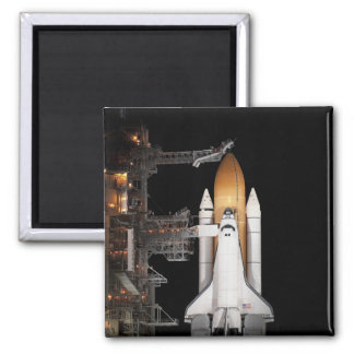 Space shuttle Atlantis sits ready Square Magnet