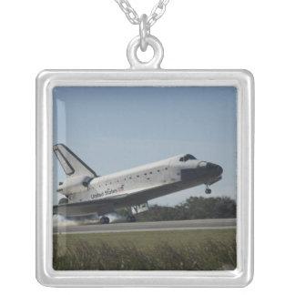 Space shuttle Atlantis touches down 2 Square Pendant Necklace