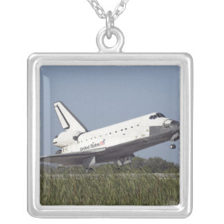 Space shuttle Atlantis touches down on Runway 3 Square Pendant Necklace