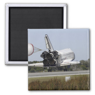 Space shuttle Atlantis unfurls its drag chute 2 Square Magnet