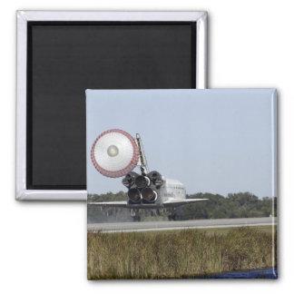 Space shuttle Atlantis unfurls its drag chute 3 Square Magnet