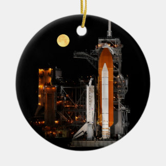 Space Shuttle Discovery and Moon Christmas Ornament