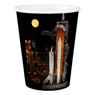 Space Shuttle Discovery and Moon Paper Cup